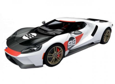 BBURAGO 1:32 - FORD GT 2021 #98 *HERITAGE COLLECTION*, WHITE/BLACK/RED