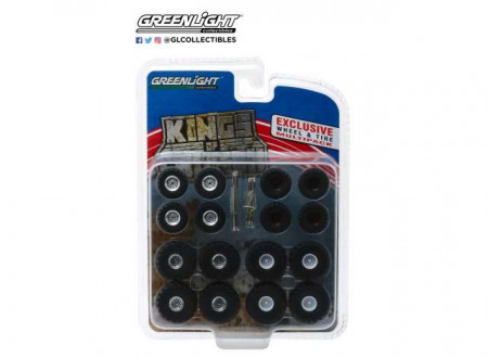 GREENLIGHT 1:64 - KINGS OF CRUNCH WHEEL & TIRE PACK 16 WHEELS, 16 TIRES, 8 AXLES *HOBBY EXCLUSIVE*