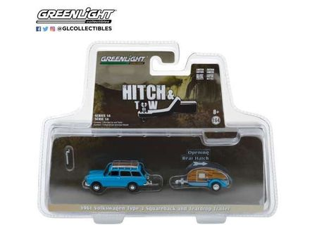 GREENLIGHT 1:64 - VOLKSWAGEN T3 SQUARE BACK 1961 WITH TEAR DROP TRAILER 'HITCH & TOW SERIES 14', BLUE