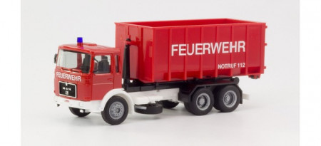 """HERPA 1:87 - MAN F8 roll-off container truck """"Fire department"""""""