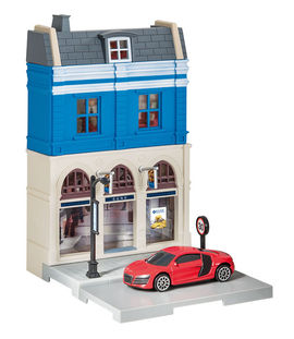 HERPA CITY 1:64 - BANK BUILDING WITH AUDI R8 DIE-CAST MODEL