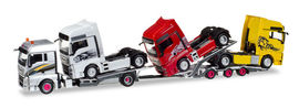 """HERPA1:87 - MAN TGX XLX Euro 6c LKW-transport-trailer with charge MAN tractor """"Transordizia"""" (E) (with movable loading ramps!)"""