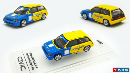 INNO MODELS 1:64 - HONDA CIVIC 1985 SI E-AT GR. #95 *TUNED BY SPOON SPORT*, YELLOW/BLUE