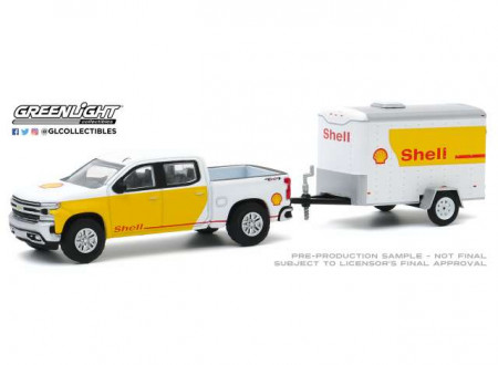 GREENLIGHT 1:64 - CHEVROLET SILVERADO 2019 SHELL OIL AND SMALL SHELL AVIATION SERVICE CARGO TRAILER *HITCH & TOW SERIE