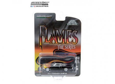 GREENLIGHT 1:64 - STUDEBAKER CHAMPION 1954 FLAMES THE SERIES *HOBBY EXCLUSIVE*, BLACK WITH FLAME