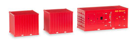 """HERPA 1:87 - Accessory 1 x power unit and 2 x 10 ft. Container """"Feuerwehr"""""""