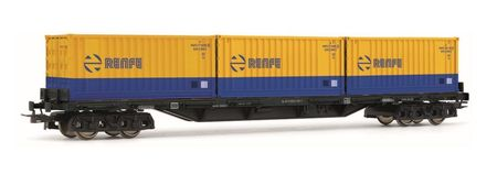 HORNBY 1:87 - RENFE, 4-AXLE FLATWAGON RS TYPE, BROWN WIT H THREEE 20' CONTAINERS 'RENFE', BLUE-YELL