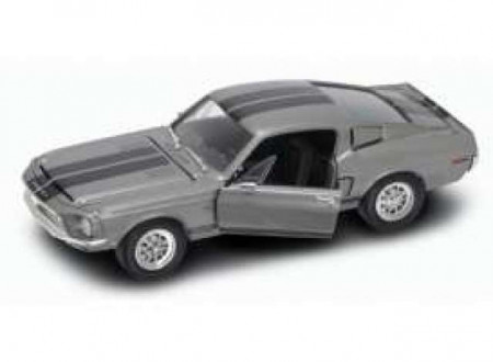 LUCKY DIECAST 1:18 - SHELBY MUSTANG GT-500KR 1968, TUNGSTEN GREY WITH BLACK STRIPES.