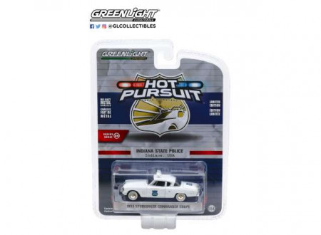 GREENLIGHT 1:64 - STUDEBAKER COMMANDER 1954 COUPE INDIANA STATE POLICE *HOT PURSUIT SERIES 34*, WHITE