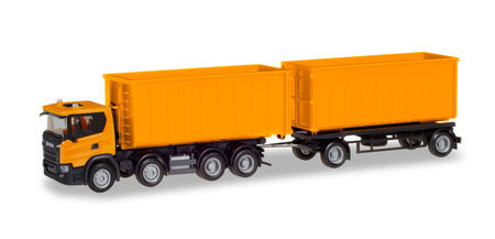 HERPA 1:87 - SCANIA CG 17 8×4 ROLL-OFF CONTAINER TRAILER, COMMUNAL ORANGE