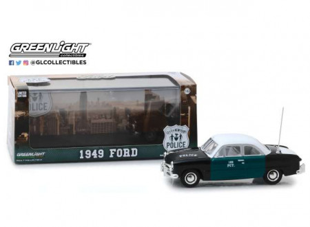 GREENLIGHT 1:43 - FORD 1949 NEW YORK CITY POLICE DEPT (NYPD), BLACK/GREEN/WHITE