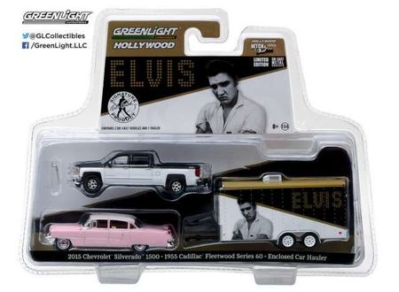 GREENLIGHT 1:64 - CHEVROLET SILVERADO WITH 1955 CADILLAC FLEETWOOD SERIES 60 ELVIS PRESLEY (1935-77) 2015 'PINK CADILLAC'