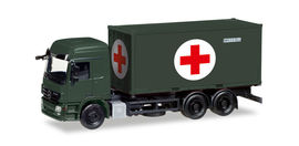 "HERPA 1:87 - Mercedes-Benz Actros L interchangable truck with medical container, bronze green ""Bundeswehr"""