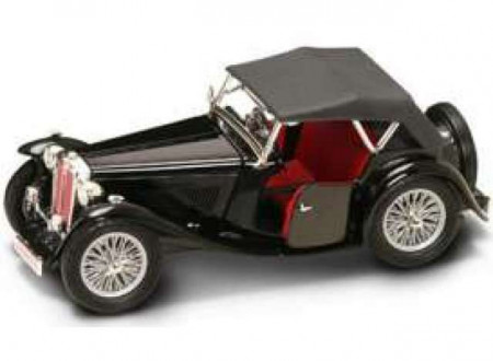 LUCKY DIECAST 1:18 - MG TC MIDGET 1947 *ROAD SIGNATURE SERIES*, BLACK WITH RED INTERIOR