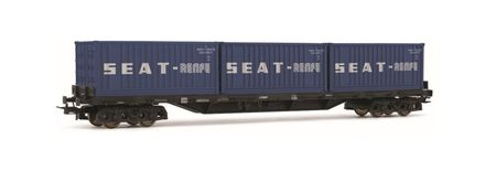 Electrotren HO (1:87) - RENFE, 4-axle flatwagon Rs type, brown wit h threee 20' containers 'RENFE', dark blue