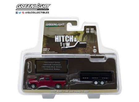 GREENLIGHT 1:64 - RAM 2500 2017 & DOUBLE AXLE DUMP TRAILER *HITCH & TOW SERIES 14*, RED/BLACK