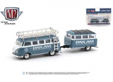 M2 MACHINES 1:64 - VOLKSWAGEN DELUXE 1959 WITH TRAILER *PAN AM*, BLUE/WHITE