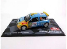 MAGAZINE MODELS 1:43 - RENAULT CLIO S1600 2007 #69 L. BETTI/G. AGNESE RALLY MONTE CARLO, BLUE/YELLOW