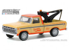 GREENLIGHT 1:64 - FORD F100 1973 WITH DROP IN TOW HOOK *BLUE COLLAR COLLECTION SERIES 7*, CREAM/ORANGE