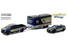 GREENLIGHT 1:64 - FORD F150 2015 & 2014 NISSAN GTR WITH ENCLOSED CAR HAULER 'GOODYEAR', HITCH AND TOW RACING SERIES.