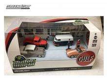 GREENLIGHT 1:64 - MOTOR WORLD 5 CAR DIORAMA SET GULF OIL VINTAGE