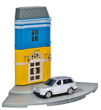 HERPA CITY 1:64 - POST SHOP WITH LAND ROVER DIE-CAST MODEL