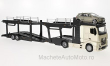 BBURAGO 1:43 - MERCEDES ACTROS 2545 CAR TRANSPORT WITH VW POLO V GTI