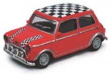 CARARAMA 1:72 - MINI COOPER - RED, CHEQUERED ROOF & BONNET STRIPES