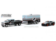 GREENLIGHT 1:64 - FORD F-350 2019 DUALLY AND 2019 FORD SHELBY GT350R GULF OIL WITH ENCLOSED GULF OIL CAR HAULER *RACI