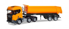 HERPA 1:87 - Scania CR ND XT 6x2 dump semitrailer, communal orange