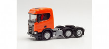 HERPA 1:87 - Scania CR XT flat Roof construction semitrailer 3-axles, orange