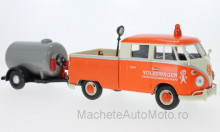 MOTORMAX 1:24 - VW T1 DOUBLE CABIN, ORANGE/BEIGE WITH TRAILER WITH TANK
