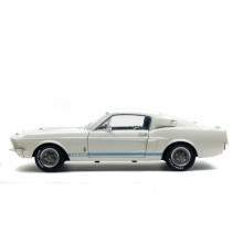 SOLIDO 1:18 - FORD MUSTANG GT500 1967 WHITE W/BLUE STRIPES