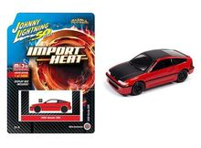 JOHNNY LIGHTNING 1:64 - HONDA CRX, RED WITH RED HOOD