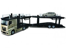 BBURAGO 1:43 - MERCEDES BENZ ACTROS 2545 MULTICAR CARRIER + VW POLO GTI, GOLD METALLIC