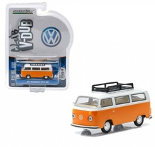 GREENLIGHT 1:64 - VOLKSWAGEN T2 WITH ROOF RACK 'CLUB VEE-DUB SERIES 2', BRIGHT ORANGE WITH PASTEL WHITE TOP - 1974