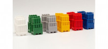HERPA 1:87 - gas cylinders with pallets, 2 x red / 2 x yellow / 2 x Grey / 2 x blue/ 2 x White / 2 x green