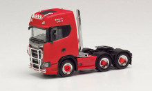 HERPA 1:87 - Scania CS 20 high roof 6×2 tractor with pipes, lamp bracket, fanfare, and impact protection, red