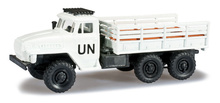 HERPA MILITARY 1:87 - URAL TEAM FLATBED TRUCK 'UN'