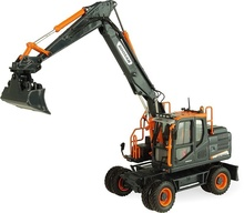 "Universal Hobbies 1:50 - Doosan DX160W """"Black Edition Wheeled Excavator with Tilting Bucket"