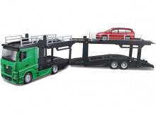 BBURAGO 1:43 - MERCEDES BENZ ACTROS 2016 2545 MULTICAR CARRIER + FORD FOCUS, GREEN/RED