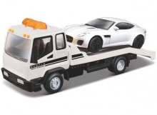 BBURAGO 1:43 - TOW TRUCK CAR HAULER WITH JAGUAR F-TYPE, WHITE/BLACK
