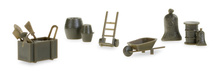 HERPA 1:87 - Military: Accessories wheelbarrows, sack barrows, barrels (contains 144 parts)