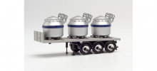 HERPA 1:87 - Trailer with 3 aluminum pots, stripes blue
