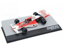 MAGAZINE MODELS 1:43 - MCLAREN M23 1974 MCLAREN F1 TEAM #5 EMERSON FITTIPALDI WORLD CHAMPION SPAIN GP F1, WHITE/RED