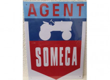 METAL SIGNS 1:1 - AGENT SOMECA, RED/BLUE/WHITE
