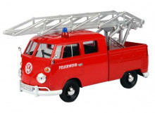 MOTORMAX 1:24 - VOLKSWAGEN TYPE 2 (T1) *FIRE TRUCK WITH AERIAL LADDER*, RED