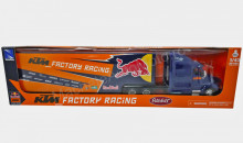 NEWRAY 1:43 - PETERBILT 387, KTM RED BULL FACTORY RACING TEAM TRUCK WITH BOX TRAILERS
