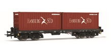 Rivarossi HO (1:87) - DB AG, Sgmms 738, container wagon with 2 x 20' container 'Hamburg S?d', epoch IV