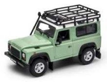 WELLY 1:24 - LAND ROVER DEFENDER OFF ROAD + ROOF RACK, GREEN
